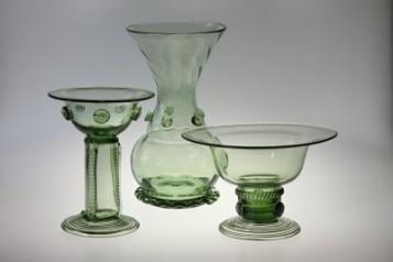 Bowls, candlesticks, vases - historical glass
