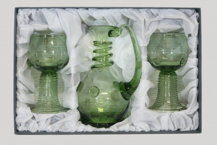 Set - Carafe and Romer round - D-1+2x21 - historical glass