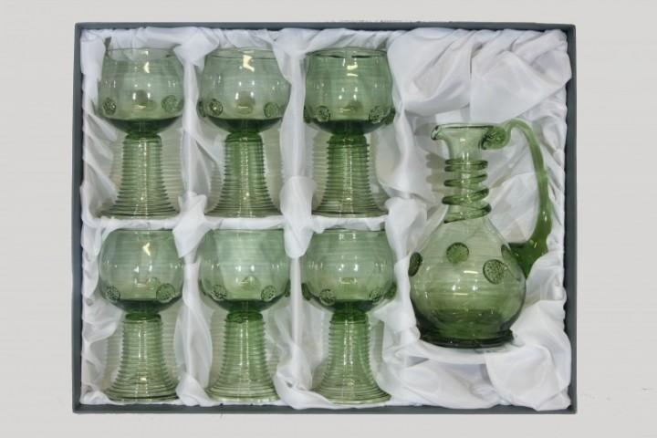 Set - Carafe and 6 pcs Romer round - D-1+6x21 - historical glass