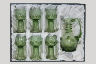 Set - Carafe and 6 pcs Romer straight - D-1+6x05 - historical glass