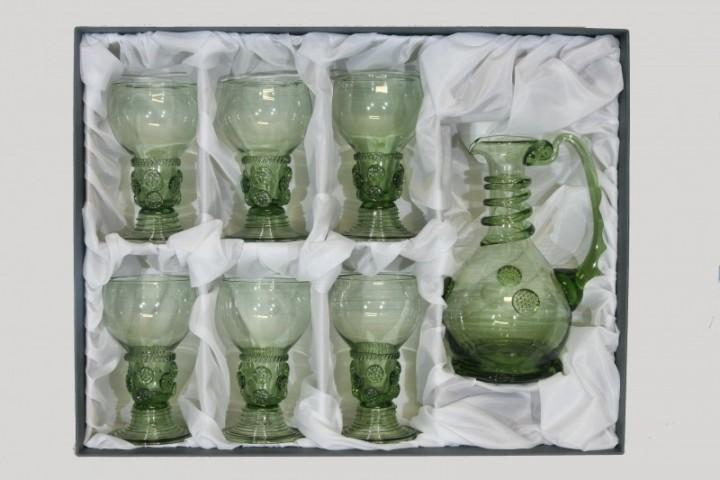 Set - Carafe and 6 pcs Romer - D-1+6x42 - historical glass