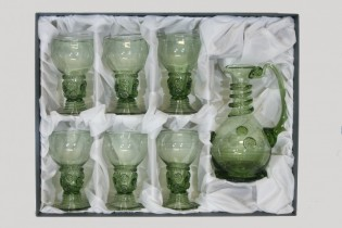 Set - Carafe and 6 pcs Romer - D-1+6x42 - historical glass