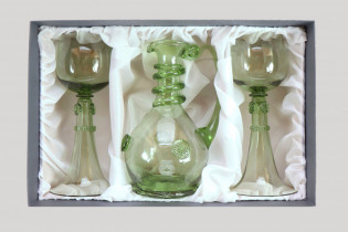 Set - Carafe and 2 pieces Wedding goblets - D-1+2xSV - historical glass