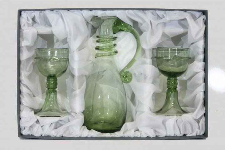 Set - Carafe bowling and goblets-Courtesan Veronica Franco - D-1+2x18 - historical glass