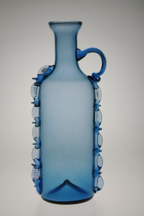Bottle round blue - 882M - historical glass