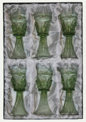 Set - 6 pcs of Goblet with stickers - D-6x22 - historical glass