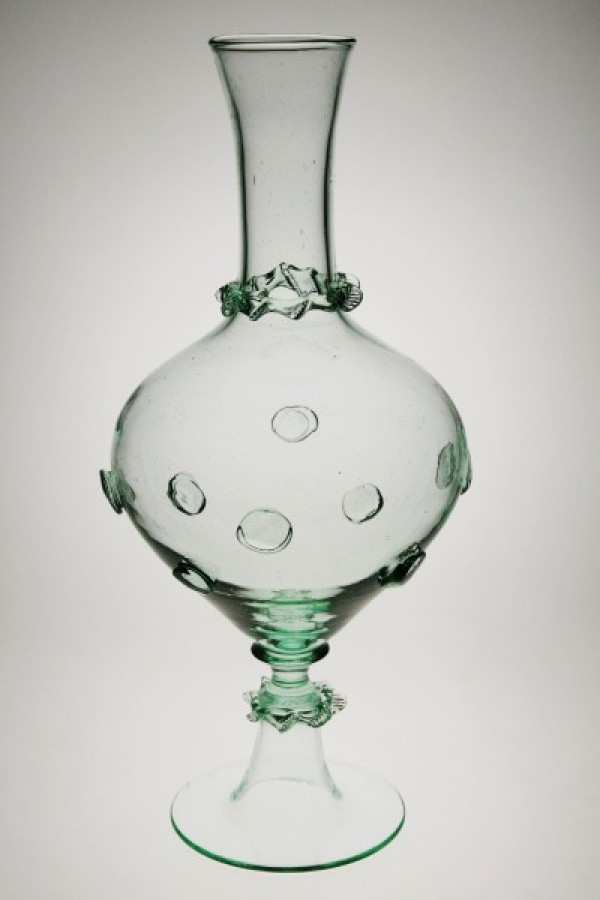 Decanter with stickers and chipped thread - 881Z - historical glass