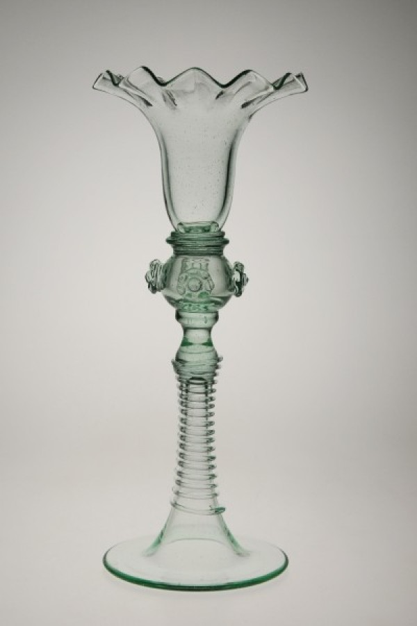 Candlestick with milk ball - 851Z - historical glass