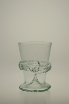 Paper cup with spine decorated with decals - 745 - historical glass