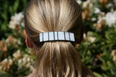 hair clip white - historical glass