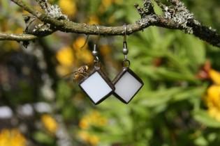 earrings white - historical glass