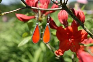 earrings red long - historical glass