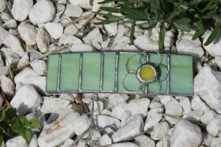 hair clip green3 - historical glass