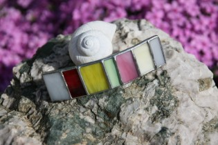 hair clip colorful - historical glass