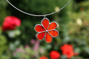 jewel flower red - historical glass