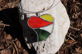 jewel heart big colorful - historical glass