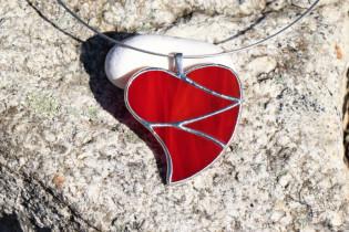 jewel heart big red - historical glass