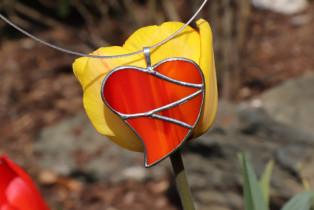 jewel heart big orange - historical glass
