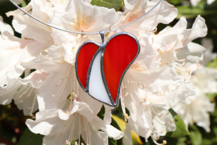jewel heart two colors - historical glass