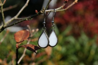 earrings white with patina - historical glass