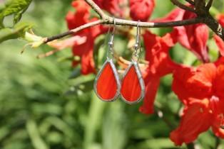 earrings red2 - historical glass
