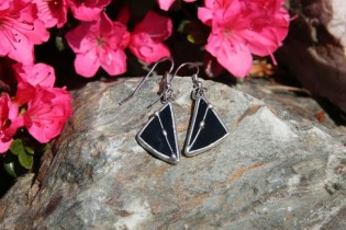 earrings black decorated - historical glass