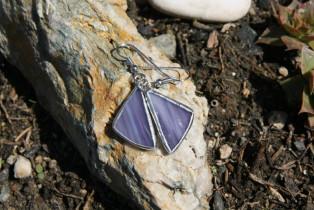 earrings purple - historical glass
