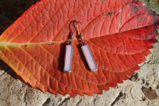 earrings pink - historical glass