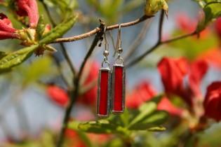 earrings red 3 - historical glass