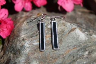 earrings black long - historical glass