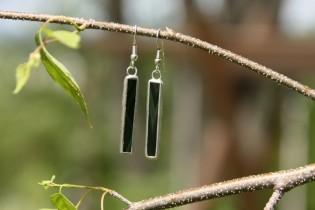 earrings dark green long - historical glass