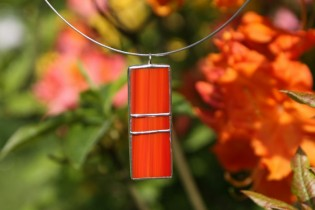 jewel red and orange - historical glass