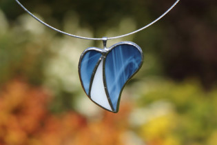 jewel heart blue and white - historical glass