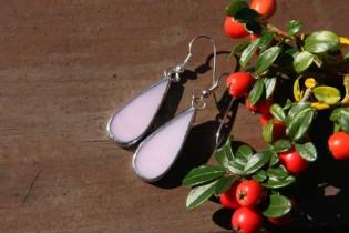 earrings pink long - historical glass