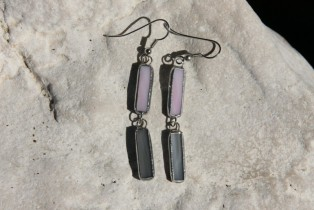 earrings grey and pink - historical glass