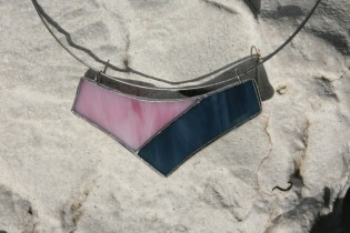 jewel pink and blue - historical glass