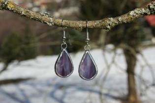 earrings purple2 - historical glass