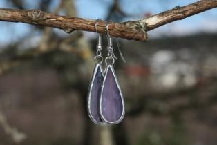 earrings purple long - historical glass