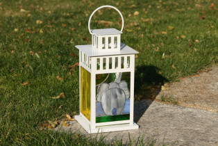lantern with the elephant - historical glass