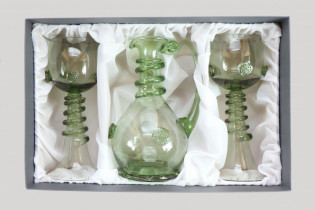 Set - Carafe and 2 pieces Wedding goblets - D-1+2x66 - historical glass