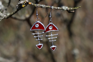 earrings fish red - historical glass
