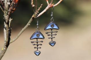 earrings fish blue - historical glass