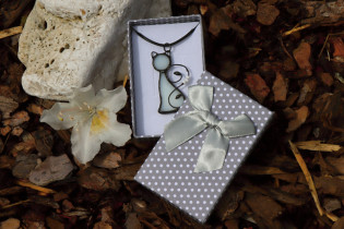 white cat in a gift box - historical glass
