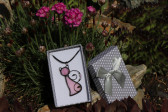 pink cat in a gift box - historical glass