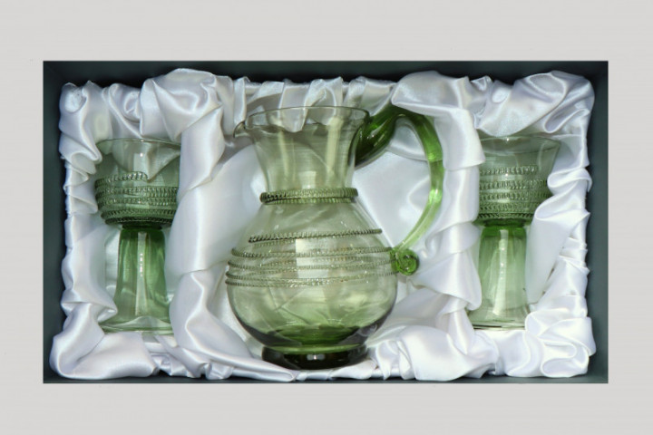 Set -Pitcher and Cups with radial spin - D-67+2x63 - historical glass