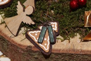earrings green - historical glass