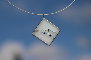 jewel white with blue - historical glass