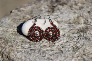 earrings red - historical glass
