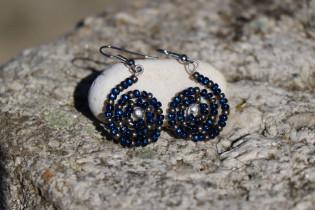 earrings blue - historical glass