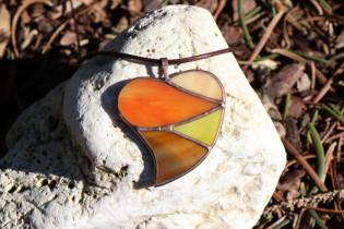 jewel heart big warm colors - historical glass